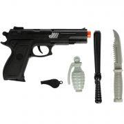Набор оружия Пистолет с прицелом, нож, дубинка, наручники РАС 28х18см 911