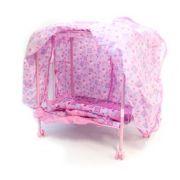 Кроватка для кукол мет., с балдахином, ножки на колес. 50х32.5х53см 9350E