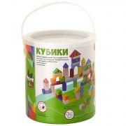 Игр. набор дерев., строит. Кубики, 80 дет., Bondibon, BOX 18х18х21 см., арт. TKB349