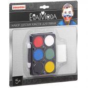 Набор Bondibon Eva Moda детских красок для грима (6 цветов; 9г), аппликатор, спонж, CRD 21х21 см,