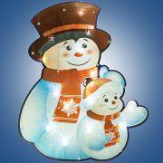 н.г.эл.гирл.-панно блестящ.снеговик со снеговичком 0.37х 0.45м, 30л.LED,бел.кабель 1.5м до розетки