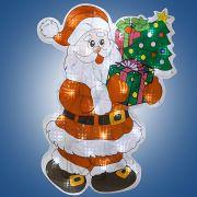 н.г.эл.гирл.-панно блестящ.Дед Мороз с ёлкой  0.46х 0.35м, 30л.LED,бел.кабель 1.5м до розетки