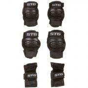 Защита детская STG YX-0303 комплект: наколенники, налокотник, защита кисти.черная, размер S