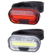 Комплект фонарей велосипедных STG,JY-6068, задний+передний,  резин. Хомут. Бат: (2 *CR2032) черный
