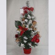 н.г.елка украшен.заснеж. шары/банты в корз.60см,красный цв.