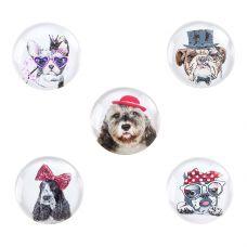 н.г.символ года собака набор магнитов D=3cm 5шт.на карте grt-Е96526 Snowmen 97 р. Магниты