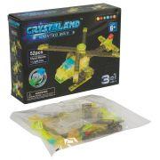 Конструктор пластмас. 52 дет., светящ. c 1-им LED элементом, CRYSTALAND,  вертолёт, 3в1 модели, ВОХ