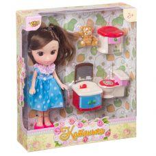 """Кукла Катенька 16,5 см с набором мебели """"Ванная комната"""", ВОХ 18×5×20 см, арт.M6609. grt-Д87581 YAKO 453 р. Куклы и пупсы классические (нефункциональные)"""