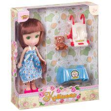"""Кукла Катенька 16,5 см с набором мебели """"Кроватка и коляска"""" , ВОХ 18×5×20 см, арт.M6614. grt-Д87582 YAKO 445 р. Куклы и пупсы классические (нефункциональные)"""