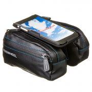 Велосумка STG мод. 121273-TY разм. M на  раму,с крепежом для телефона, 2-а отделения,черная.