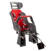 Кресло детское заднее Sunnywheel в цветной коробке, модель SW-BC-137, серое с красным текстилем.