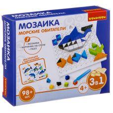 Логические, развивающие игры и игрушки Bondibon Мозаика «МОРСКИЕ ОБИТАТЕЛИ», 98 дет., BOX 16x4x14 см grt-ВВ3025 Bondibon 200 р. Мозаики