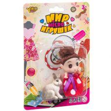 """Куколка с зайчиком, серия """"Мир micro Игрушек"""", CRD 13.5×20×3,5 см, арт.M7592-1. grt-Д93727 YAKO 182 р. Куклы и пупсы классические (нефункциональные)"""