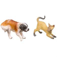 """Набор пвх кошка с собакой, серия """"Мир вокруг нас"""", РАС 16,5×14,5 см, 6 видов, арт.M7593-16. grt-Н93734 YAKO 368 р. Фигурки животных, динозавров, насекомых, рыб, драконов"""