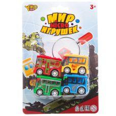 Набор инерц. автобусов 4 шт.,серия Мир micro Игрушек, CRD 13,5х20 см, арт.M7618-1. grt-В93775 YAKO 185 р. Инерционный транспорт