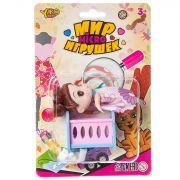 Набор мебели ( кроватка) с куколкой и медвежонком, серия  Мир micro Игрушек, CRD 13,5х20 см, арт.M76