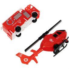 Набор пластм. 2 предмета, пожарн. машина и вертолёт, РАС 15,5х23,5 см, серия МиниМаниЯ, арт.M7714. grt-В94370 YAKO 162 р. Инерционный транспорт