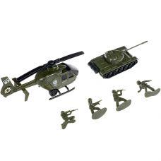 Набор пластм. 4 предмета, военная техника ( танк, вертолёт) и 2 солдатика, РАС 15,5х23,5 см, серия М grt-В94371 YAKO 162 р. Инерционный транспорт