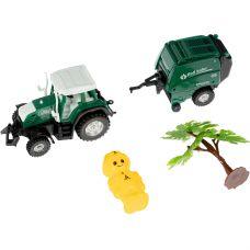Набор пластм. 3 предмета, трактор с прицепом и дерево, РАС 15,5х23,5 см, серия МиниМаниЯ, арт.M7729. grt-В94373 YAKO 166 р. Инерционный транспорт