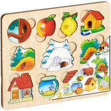 """Пазл-рамка для малышей """"Где чей домик?"""" арт.7993 (дерево, 2 слоя) /36 grt-Р95158 Нескучные Игры 292 р. Бизиборды, рамки-вкладыши"""
