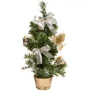 н.г.ёлка украш.36см с инеем цветы,банты,подарки подст.-корзина (золотой цв.)