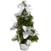 н.г.ёлка украш.36см с инеем цветы,банты,подарки подст.-корзина (серебр.цв.)
