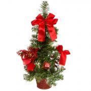 н.г.ёлка украш.36см с инеем цветы,банты,подарки подст.-корзина (красный цв.)