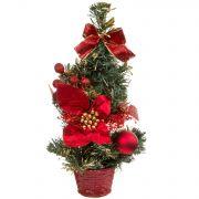 н.г.ёлка украш.31см цветы, банты, шары подст.-корзина (красный/золотой цв.)