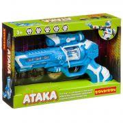Пистолет Bondibon «АТАКА», голубой, свет, звук, проекция, вибр. и вращ. эл., BOX 29х19,4х5,6см