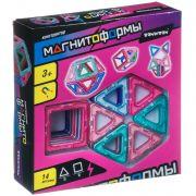Магнитный конструктор МАГНИТОФОРМЫ Bondibon, набор 14 дет. (6 квадратов, 8 треугольников), ВОХ 21х22