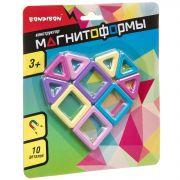 Магнитный конструктор МАГНИТОФОРМЫ Bondibon, набор 10 мини-дет., CRD 20х18 см