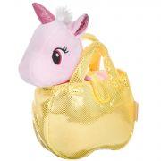Крылатый единорог в золотистой сумке, Bondibon МИЛОТА, c ошейником и поводком, PAC, цвет розовый, 20