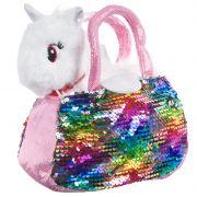 Крылатый единорог в сумке с пайетками, Bondibon МИЛОТА, c ошейником и поводком, PAC, цвет белый, 18