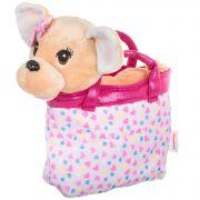 Собачка в розовой сумке с сердечками, Bondibon МИЛОТА, c ошейником и поводком, PAC, чихуахуа с банти