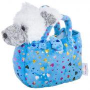 Собачка в голубой сумке с сердечками, Bondibon МИЛОТА, c ошейником и поводком, PAC, белый терьер,19