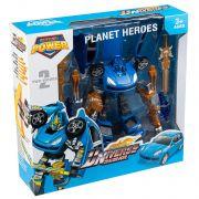 Игр. пласт. робот-трансформер Planet Heroes, ВОХ 34x33x10см, цвет синий, арт.L015-2.